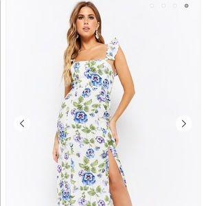 Floral Ruffle-Strap Maxi Dress